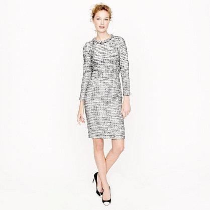 Long-sleeve tweed dress