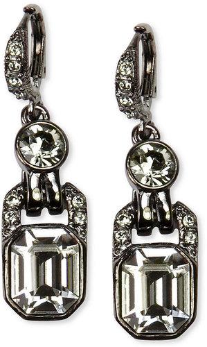 Givenchy Earrings, Light Hematite Tone Black Diamond Crystal Drop Earrings