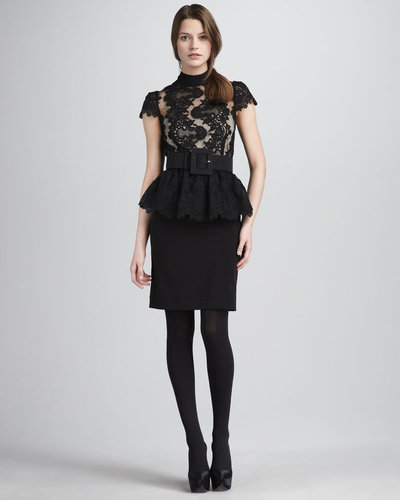 Alice + Olivia Robyn Lace-Top Peplum Dress