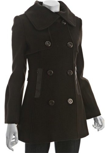 Mackage cocoa wool blend 'Raffy' double breasted peacoat