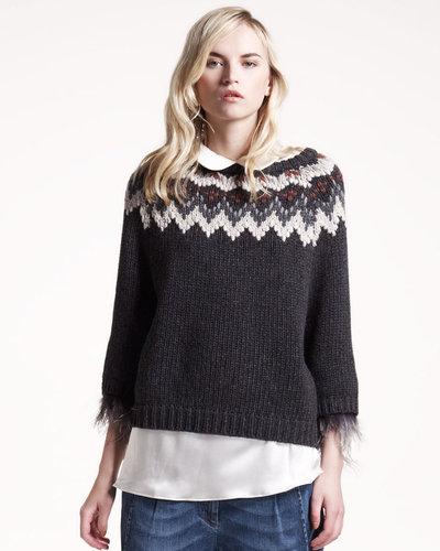 Brunello Cucinelli Feather-Trim Intarsia Sweater