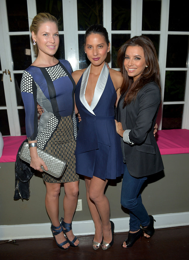 Ali Larter, Olivia Munn and Eva Longoria were all colour-coordinated at the Vanity Fair And Juicy Couture Celebration Of The 2013 Vanities Calendar on February 19.