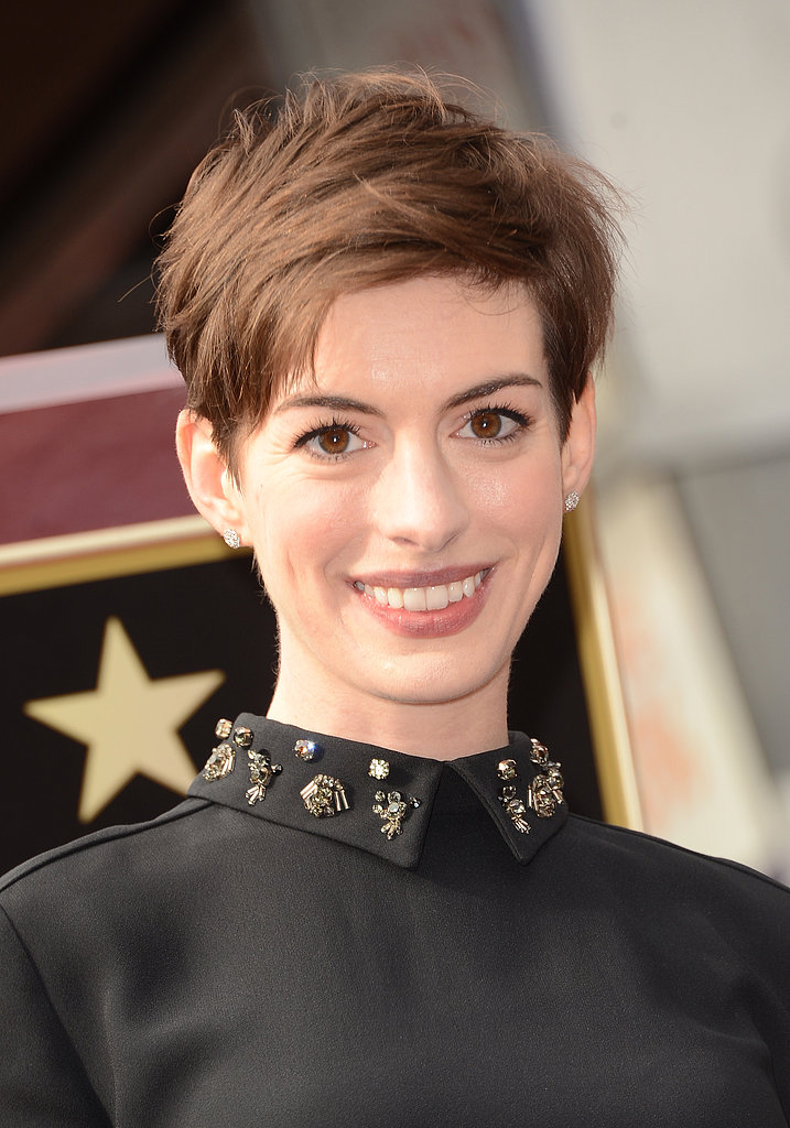 On the Hollywood Walk of Fame, Anne Hathaway went for a subtly windblown effect. To get a similar look, finger-style while you blow-dry, and finish off with a spritz of dry shampoo.