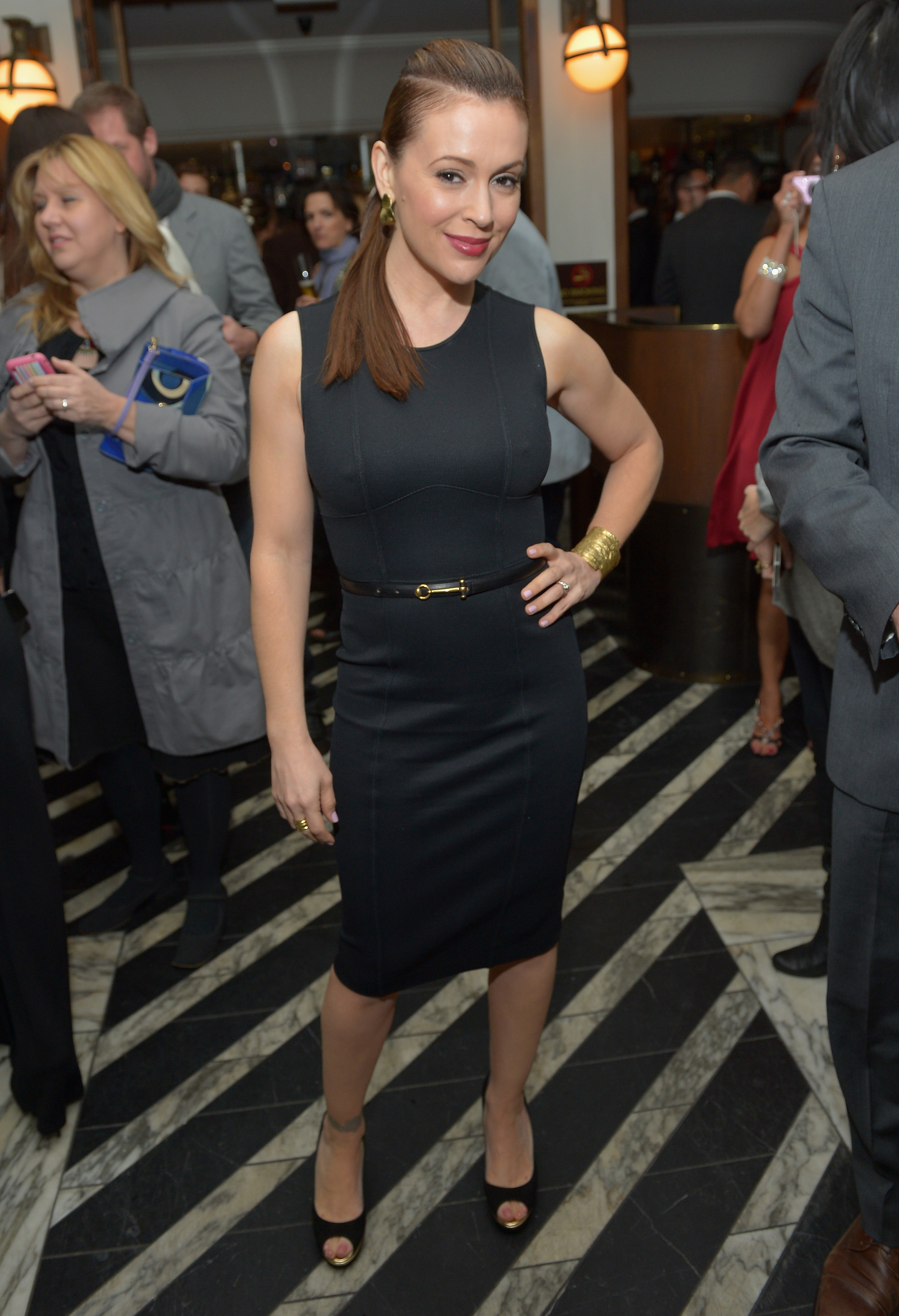 Alyssa Milano wore an LBD to a pre-Oscars party held by Vanity Fair on Thursday night in LA.