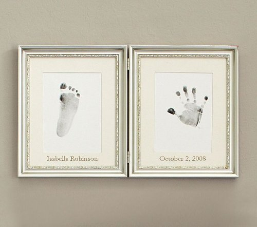 Silver Leaf Handprint Footprint Frame
