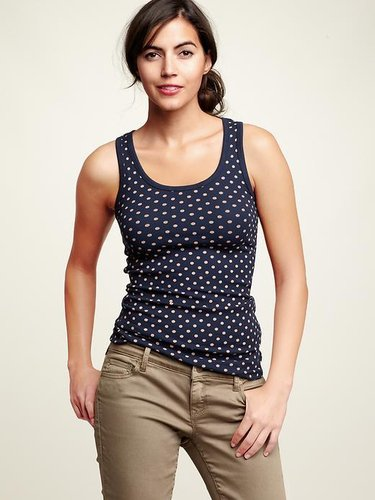 Polka dot ribbed tank