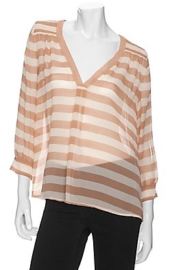 Joie Nautical Stripe Sheer Blouse