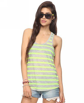 Forever 21 Neon Striped Racerback Tank