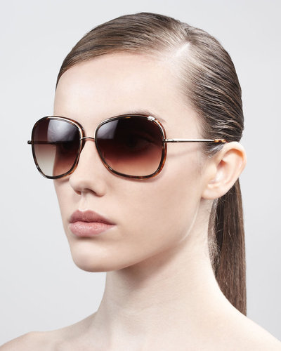 Oliver Peoples Emely Round Enamel & Metal Sunglasses, Brown