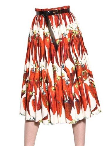 Dolce & Gabbana - Hot Pepper Cotton Poplin Skirt