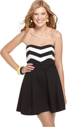 Miss Chievous Miss Chevious Dress, Strapless Chevron Print A-Line Mini