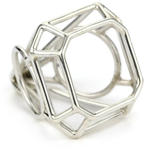 "Pure Dead Brilliant ""Kind Diamonds"" Silver Cocktail Faceted Ring"