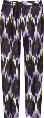 MICHAEL Michael Kors Cropped ikat-print silk-blend pants