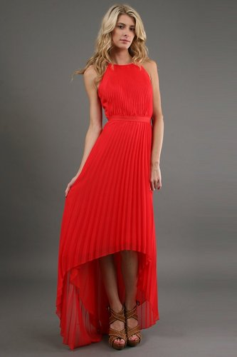 Phoebe Couture Pleated High Low Dress in Red
