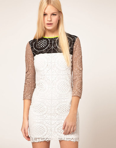MSGM Three Color Lace Dress With Neon Trim