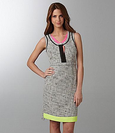 T Tahari Jessie Tweed & Neon Dress