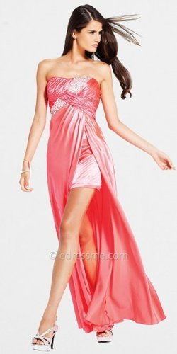 High Low Strapless Prom Dress by Faviana