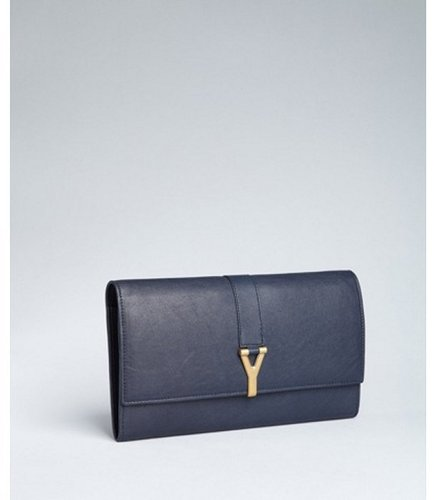 Yves Saint Laurent blueberry leather travel document clutch