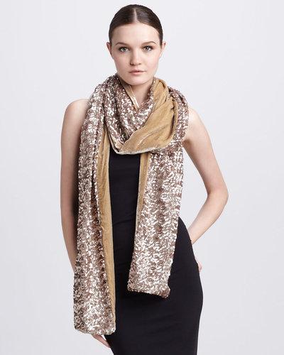 Rachel Zoe Extra-Long Sequined Velvet Scarf, Golden