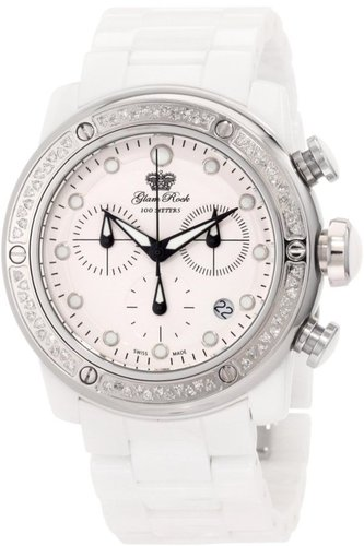 Glam Rock Women's GR50116D Aqua Rock Chronograph Diamond Accented White Dial Ceramic Watch