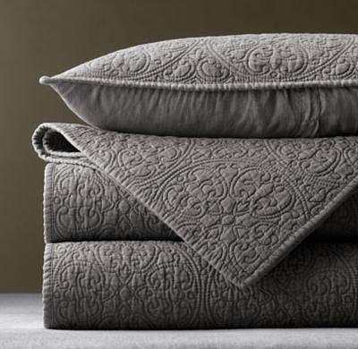 Vintage-Washed Belgian Linen Quilt