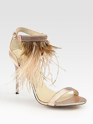 Metallic Leather and Feather-Embellished Sandals