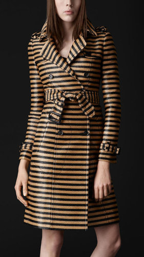 Striped Jacquard Slim Trench Coat