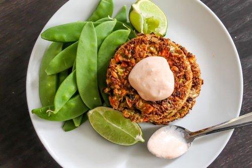 Coconut Curry Salmon Cakes with Sriracha 'Mayo'