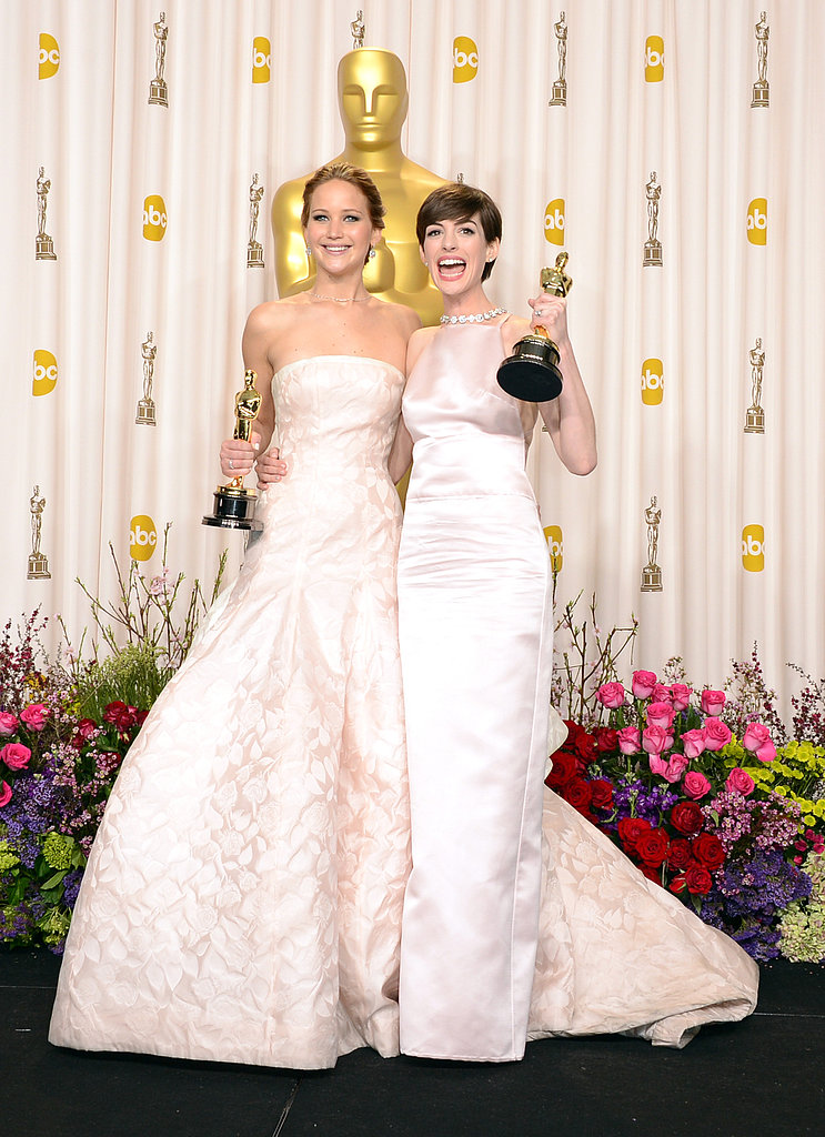 Jennifer Lawrence and Anne Hathaway celebrated their Oscar wins.
