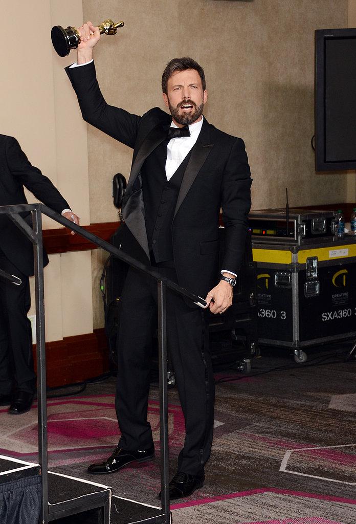 Ben Affleck showed his Oscar excitement backstage.