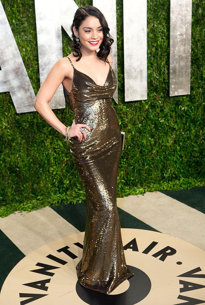 Vanessa Hudgens arrived at the Vanity Fair Oscar party.