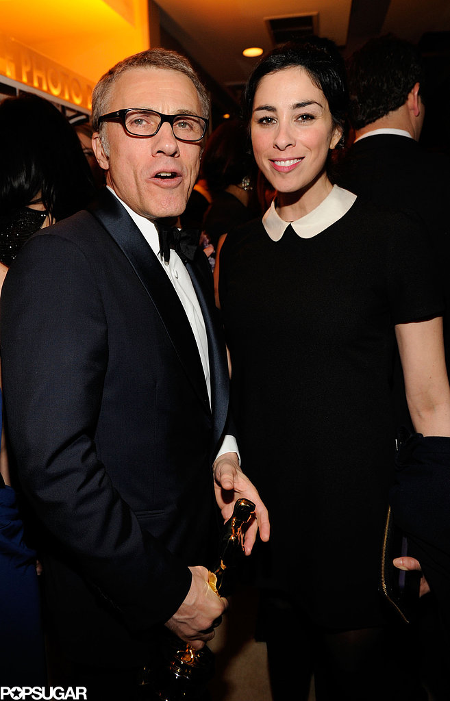 Sarah Silverman and Christophe Waltz chatted it up at Vanity Fair's Oscar after-party.