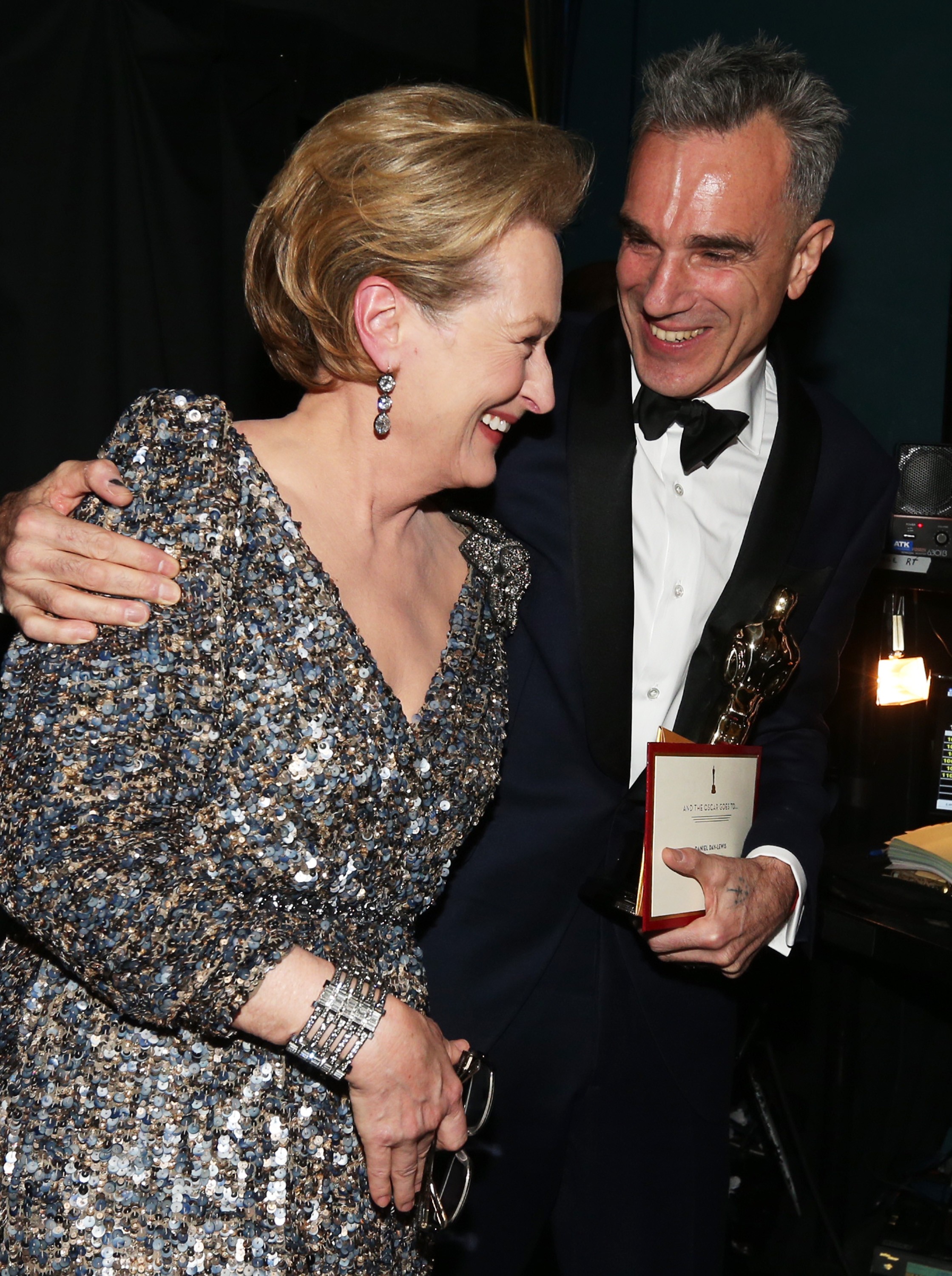 Meryl Streep and Daniel Day-Lewis backstage at the