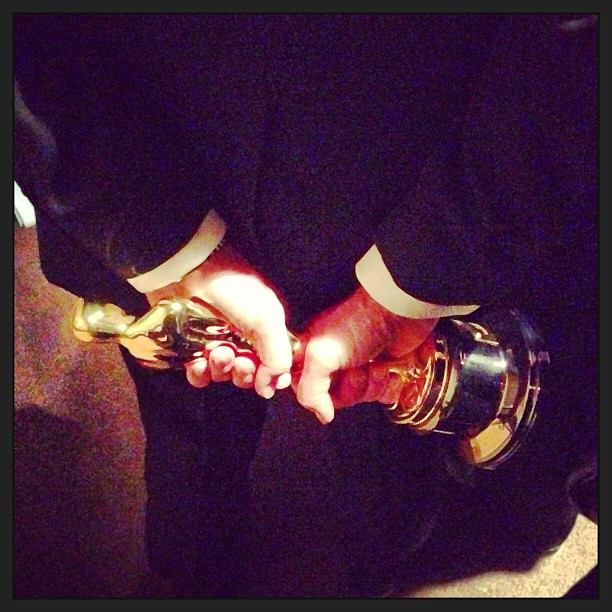David Katzenberg took a pic of his dad Jeffrey Katzenberg's Oscar. Source: Instagram user davidkatzenberg