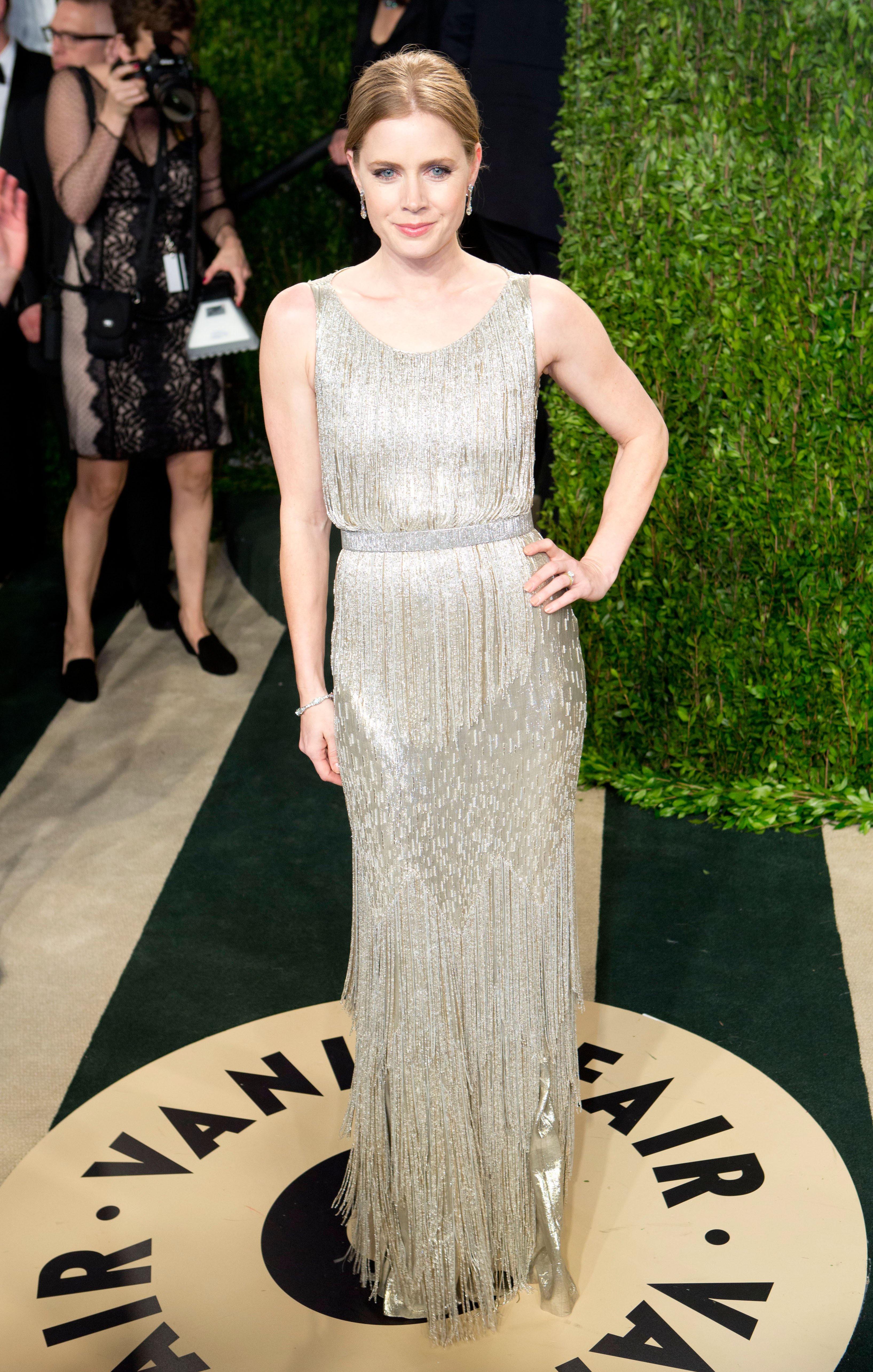 Amy Adams arrived at the Vanity Fair Oscar party.