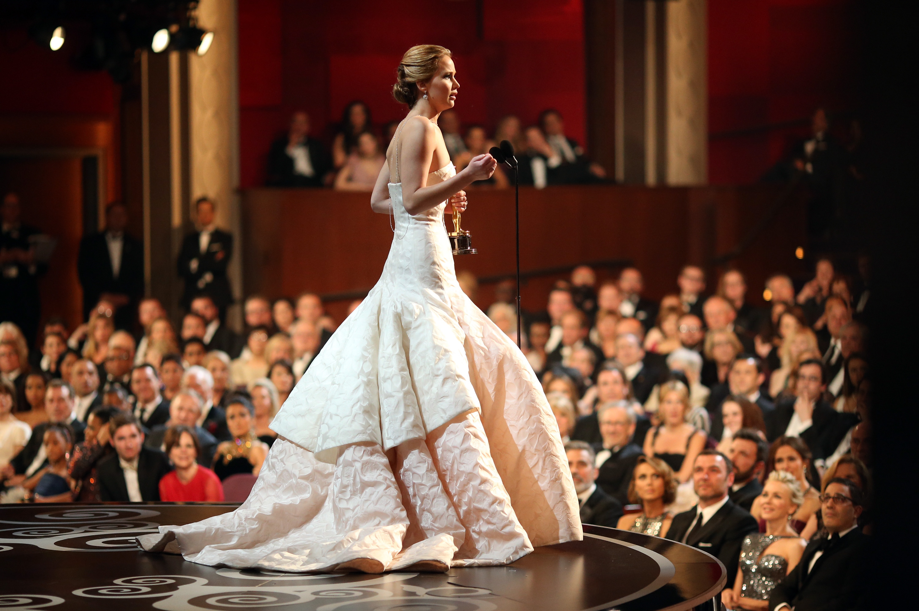 Jennifer Lawrence looked stunning in Dior as she accepted her best actress statue on stage.