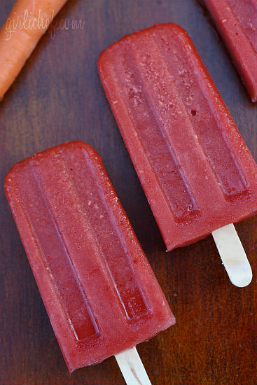 Carrot, Mango, & Raspberry Popsicles