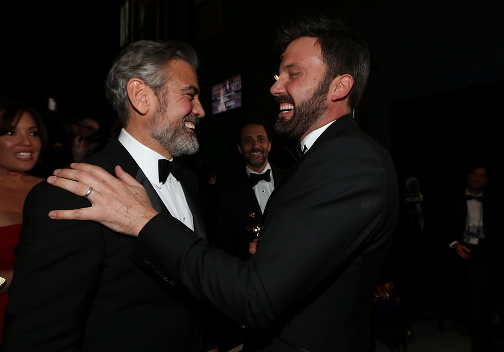 Ben Affleck and George Clooney shared a hug backstage at the Oscars.