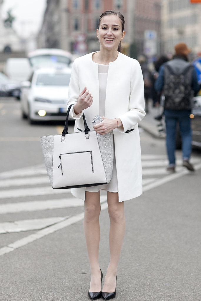 "The chicest of ""Winter"" gear in all white — and with classic heels."