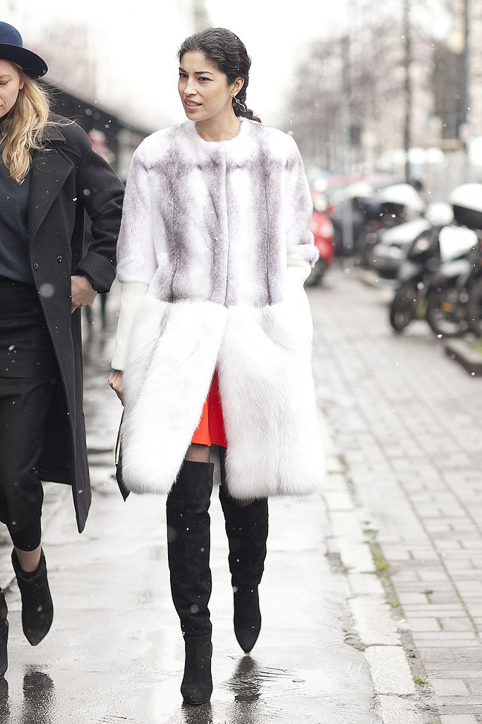 Caroline Issa showed off the most luxurious of Winter outerwear.