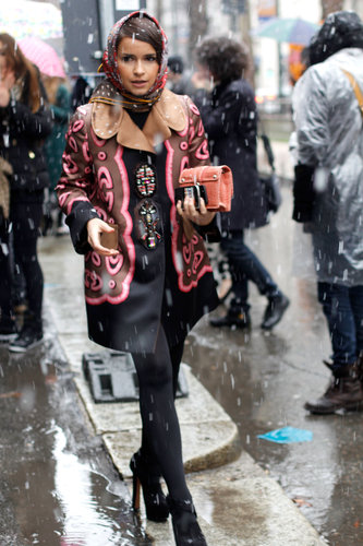 Miroslava Duma braved the snow in an embellished coat.