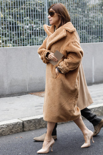 Carine Roitfeld stuck to neutrals with a bold, textural twist.