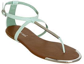 WetSeal Metal T-Strap Sandal Mint