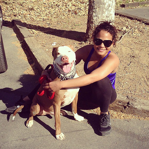Christina Milian got in a workout with her dog. Source: Instagram user christinamilian