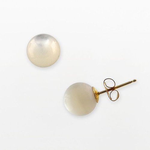 14k Gold Mother-Of-Pearl Ball Stud Earrings