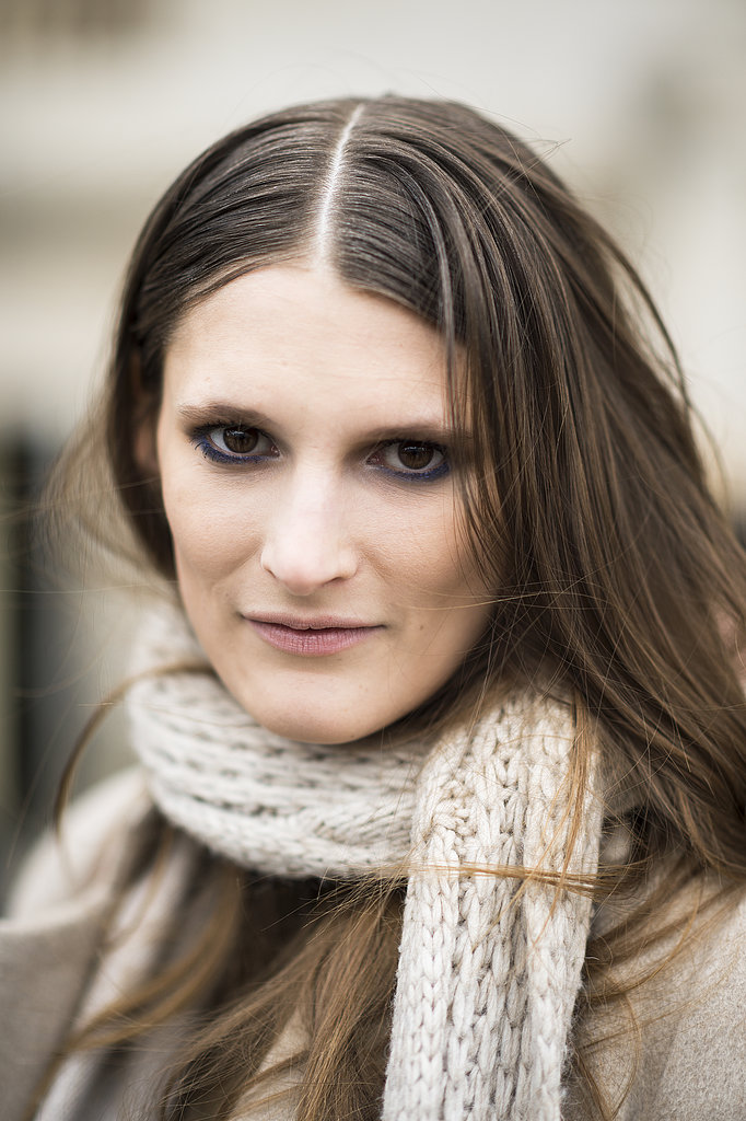 A center-split style, like Marie Piovesan's here, draws attention to a bold eye look. Source: Le 21ème   Adam Katz Sinding