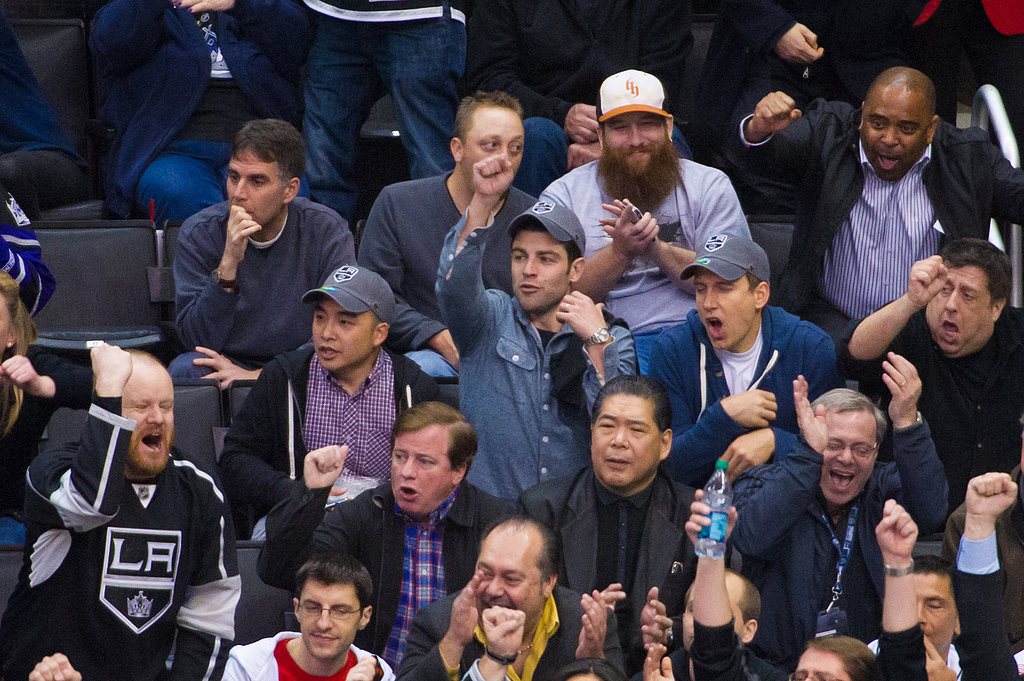 Max Greenfield cheered in the crowd at the Kings game in LA.