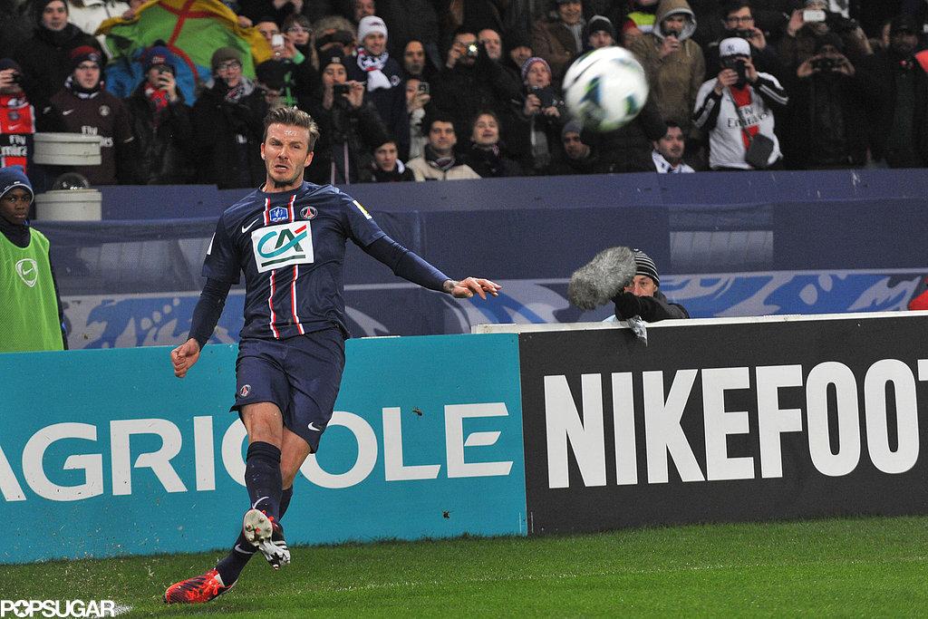David Beckham hit the field in Paris.