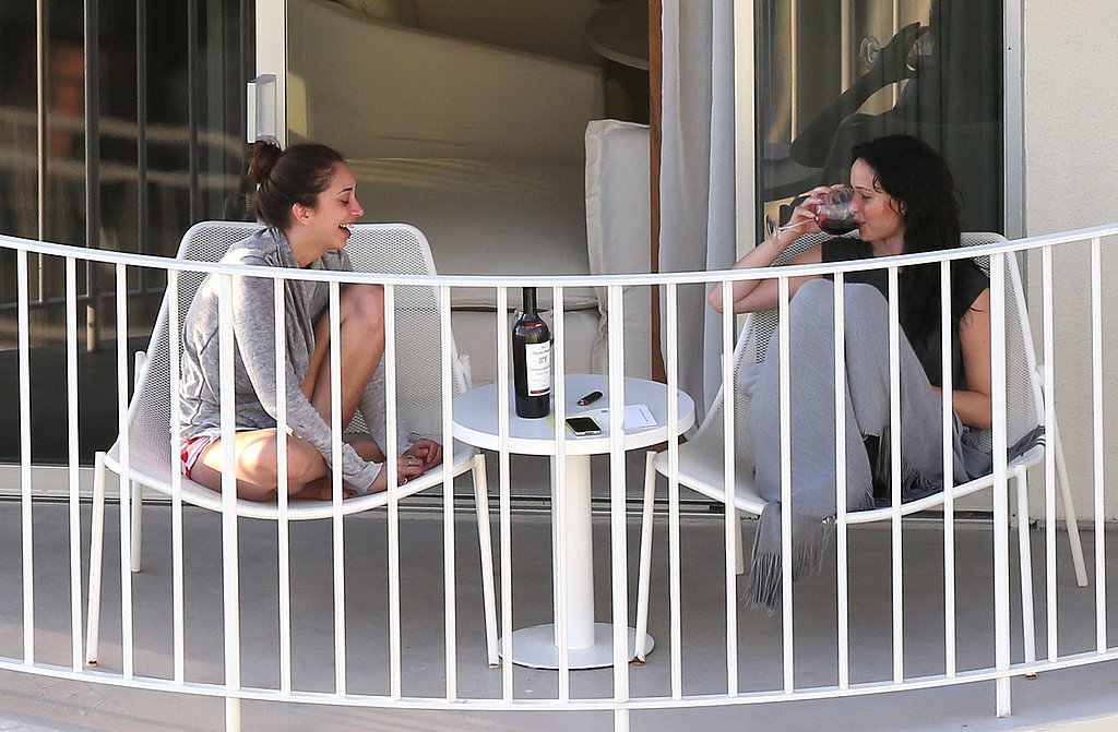 Jennifer Lawrence and her friend sipped on some red wine.