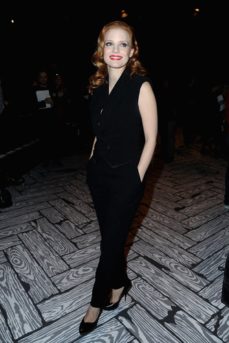 Jessica Chastain wore an all-black Viktor & Rolf jumpsuit to sit front row at Viktor & Rolf's show in Paris in March.